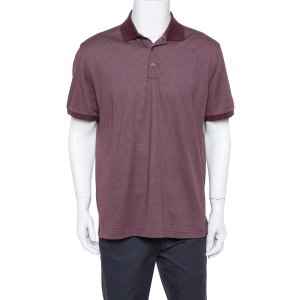 Ermenegildo Zegna Burgundy Dot Pattern Knit Polo T Shirt XL