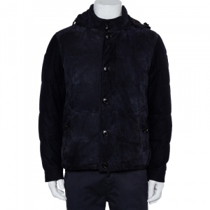 Ermenegildo Zegna Midnight Blue Suede & Cashmere Quilted Hooded Jacket L