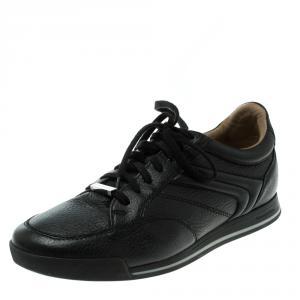 Ermenegildo Zegna Black Leather Lace Up Sneakers Size 42