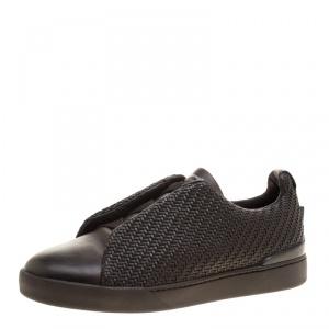 Ermenegildo Zegna Couture Dark Brown Woven Leather Pelle Tessuta Triple Stitch Slip On Sneakers Size 41