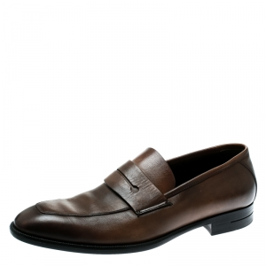 Ermenegildo Zegna Brown Leather Penny Loafers Size 41