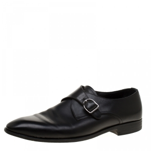 Ermenegildo Zegna Black Leather Monk Strap Oxfords Size 41.5