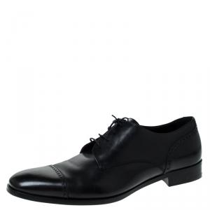 Ermenegildo Zegna Black Leather Oxfords Size 43.5