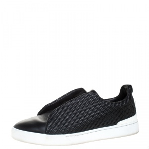 Ermenegildo Zegna Couture Black Woven Leather Pelle Tessuta Triple Stitch Slip On Sneakers Size 44