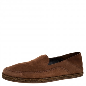 Ermenegildo Zegna Brown Suede Leather Penny Espadrille Loafers Size 41.5