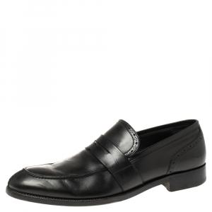 Ermenegildo Zegna Black Leather Penny Loafers Size 43.5