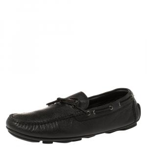 Ermenegildo Zegna Black Leather Bow Loafers Size 42