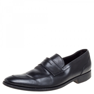 Ermenegildo Zegna Black Leather Penny Loafers Size 45