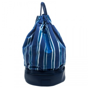 Ermenegildo Zegna Blue/White Striped Fabric and Leather Drawstring Backpack