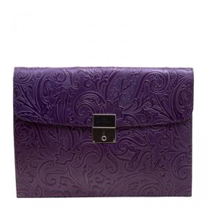 Etro Purple Paisley Embossed Leather Document Case