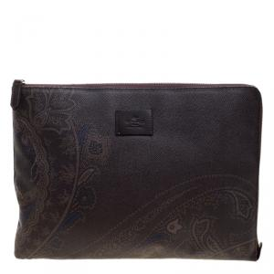 Etro Dark Brown Paisley Printed Coated Canvas Document Holder