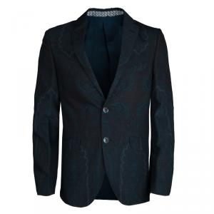 Etro Navy Blue and Black Paisley Printed Wool Superleggera Minerva Blazer L