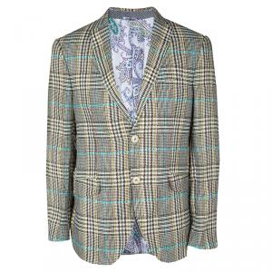 Etro Multicolor Linen Glen Plaid Superleggera Blazer L