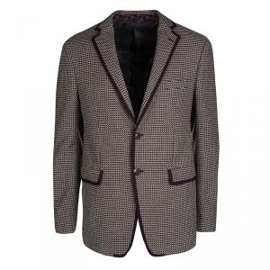Etro Purple Textured Wool Blend Tailored Blazer M