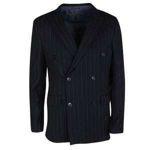 Etro Navy Blue Wool Blend Chalk Striped Double Breasted Blazer M