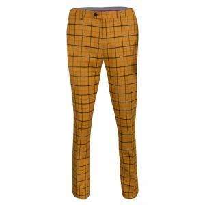 Etro Mustard Checked Wool Panama Slim Fit Trousers M