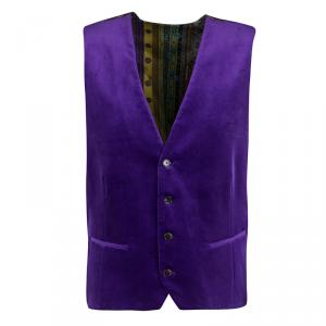 Etro Purple Velvet Silk Panel Detail MInete Vest L