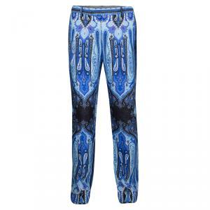 Etro Blue Mexico Print Linen Trousers L