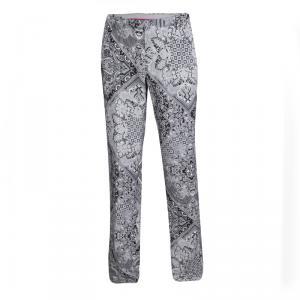 Etro Monochrome Mexico Printed Silk Trousers L