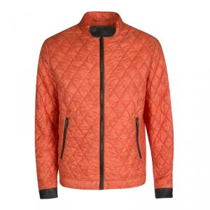 Etro Orange Paisley Print Diamond Quilted Leather Trim Zip Front Nylon Jacket L