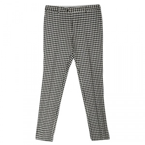 Etro Monochrome Gingham Checked Wool Panama Slim Fit Trousers L