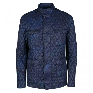 Etro Navy Blue and Black Paisley Print Diamond Quilted Jacket XL