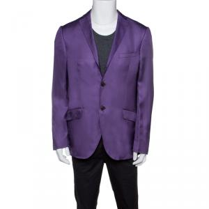 Etro Purple Silk Superleggera Minerva Blazer L
