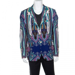 Etro Multicolor Paisley Printed Cotton Superleggera Minerva Blazer L