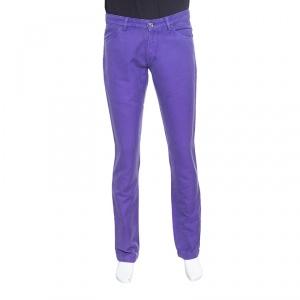Etro Purple Herringbone Denim Overdyed Jeans L