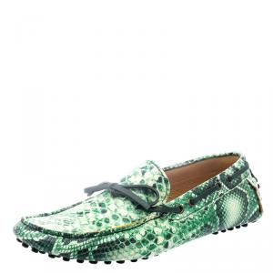 Etro Green Python Embossed Leather Loafers Size 43