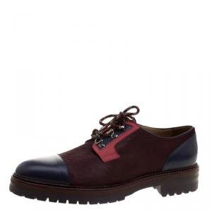 Etro Multicolor Leather and Calfhair Oxfords Size 44