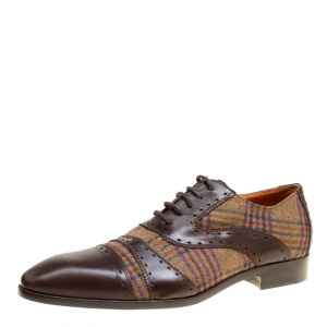 Etro Brown Leather and Checkered Tweed Lace Up Oxfords Size 40.5