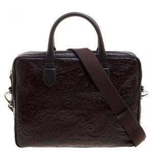 Etro Brown Paisley Embossed Leather Laptop Bag