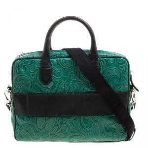 Etro Green Paisley Embossed Leather Laptop Bag