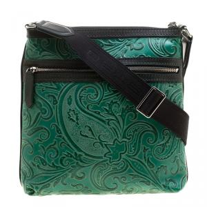 Etro Green Paisley Embossed Leather Messenger Bag