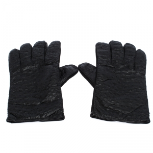 Etro Black Ostrich Gloves M
