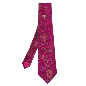 Etro Purple Paisley Pattern Silk Tie