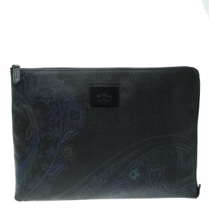 Etro Navy Blue Paisley Printed Coated Canvas Document Holder