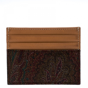 Etro Brown Paisley Printed Coated Canvas and Leather Card Holder