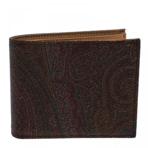 Etro Brown Paisley Print Coated Canvas Bi Fold Wallet