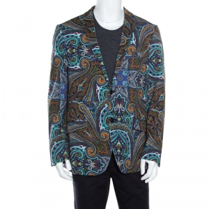 Etro Multicolor Paisley Printed Cotton New Jersey Blazer L