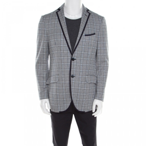 Etro Blue Glen Plaid Checked Linen and Cotton Superlegger Blazer XL