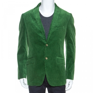 Etro Green Corduroy Tailored Superleggera Blazer XL