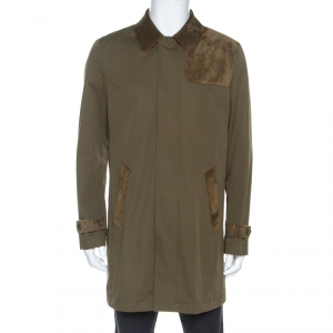 Etro Military Green Cotton Leather Collared Trench Coat L