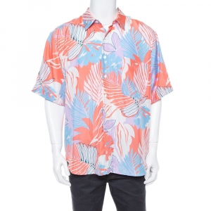 Etro Multicolor Tropical Print Silk Short Sleeve Relaxed Fit Shirt L