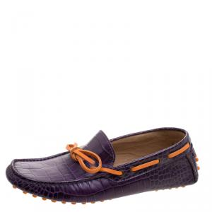 Etro Purple Croc Embossed Leather Bow Loafers Size 41