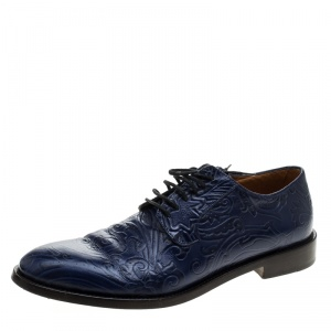 Etro Blue Paisley Embossed Leather Lace Up Derby Size 42