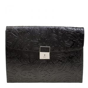 Etro Black Paisley Embossed Leather Document Case