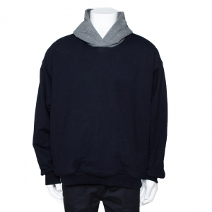 Fear of God Fifth Collection Navy Blue Cotton Hooded Sweatshirt L