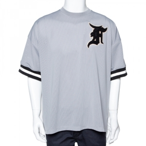Fear of God Grey Mesh Baseball Jersey Oversized T-Shirt M